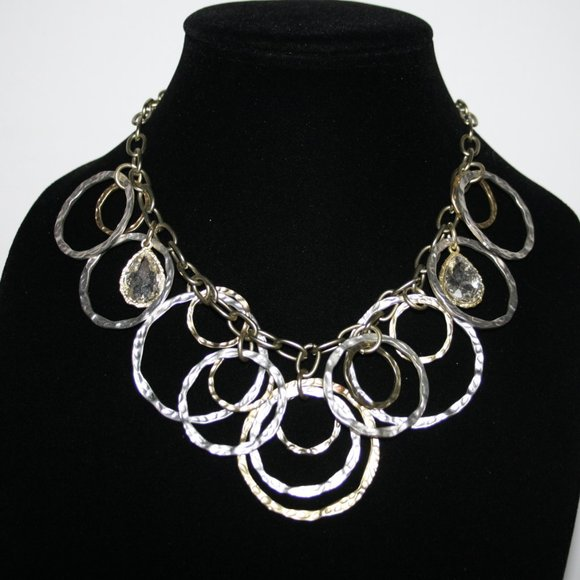 """Beautiful silver and gold statement necklace 16"""""""